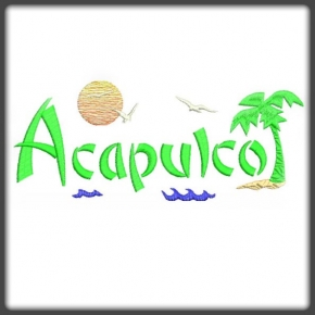 Acapulco pálmafás hímzés